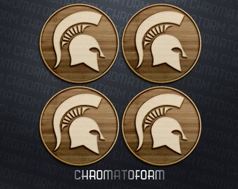Michigan State Spartans - Set of 4 Coasters - Laser engraved