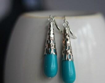 destash Turquoise Teardrop Earrings, Turquoise Blue, Silver Dangles, Filigree Drops, Lightweight,Boho Bohemian, Under 10