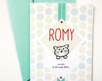 "Illustrated Birth Announcement Card ""Kitten"""