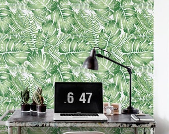 Watercolor Monstera leaves Wallpaper, Removable Wallpaper, Self-adhesive Wallpaper, Jungle Wall Décor, Jungle Wallcovering - JW083