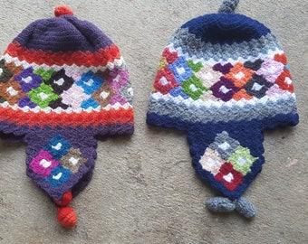 Handmade chullo, handmade winter hat chullo, Hat chullo