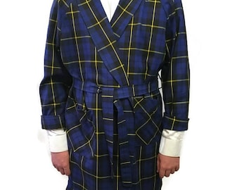60s Men's Robe, Belted Blue Robe, Belted Dressing Gown, Blue Plaid Robe, 1960s Tartan Robe, Blue Green Yellow, Short Robe