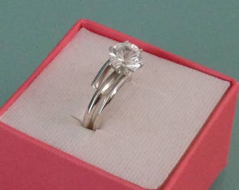 Healing Diamond Quartz Crystal Concave Cut Sterling Silver Ring