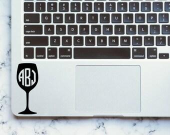 Wine Glass Monogram Decal