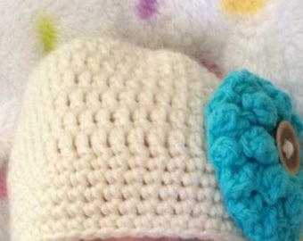 Newborn Crochet Hat with interchangeable flowers