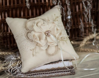 Wedding Ring Bearer Pillow, Rustic Ring Pillow, Burlap Ring Stand, Wedding Ring Pillow, Ivory, Lace, Pillow For Rings, Pillow Alternative