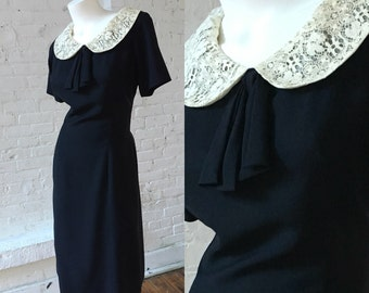 Miss Tall America 1950s Black Vintage Dress with Peter Pan Ivory Lace Collar