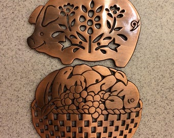 Vintage Iron and Copper Trivets Pig and Fruit Basket