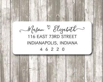 Return address label - custom- 2 5/8 x 1 inch rectangular, custom address label, white  label, sticker, wedding announcements - SET OF 30