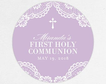 First Communion Favor Labels, First Communion Stickers, Printed Communion Tag, First Holy Communion Favor Tag, Girl Communion, Lace, Miranda