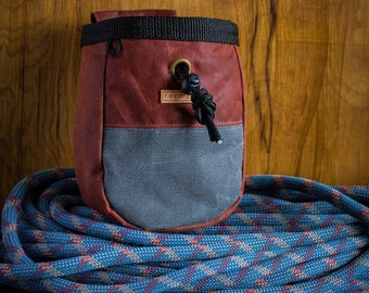 Waxed cotton canvas chalk bag - Rust/Grey, rock climbing chalk bag, chalk bag, chalk pot, bouldering, canvas chalk bag, Fernweh UK, climbing