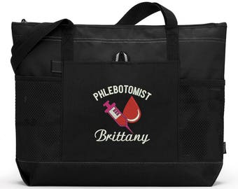 Phlebotomist Personalized Embroidered Zippered Tote Bag With Mesh Pockets, Beach Bag, Boating