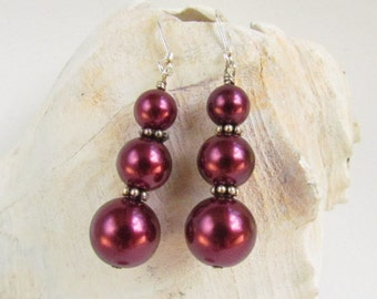 Red Pearl Drop Earrings, Burgundy, Holiday Jewelry, Christmas Gift, Gift for Her, Eveningwear, Handmade by Harleypaws, SRAJD