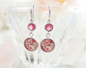 Pink Crystal Earrings Dangle - Pink Flower Earrings Silver - Dangling Flower Earrings - Fuchsia Earrings - Pink Bridesmaid Jewelry E5323