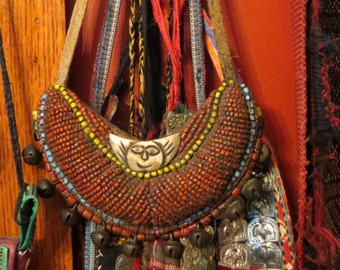 SALE African/Tibetan Coral/Turquoise Beaded Necklace with Bone(?) Face