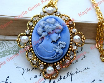 Cameo Necklace Victorian Style Lady Shimmery Blue  Antique Gold Frame Decorated with Sparkle Rhinestones and Pearl cabochons