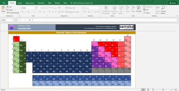 periodic table worksheet printable excel template - Tabla Periodica De Los Elementos Quimicos Hecha En Excel