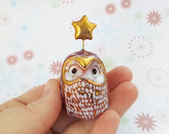 Red and Gold Fairy Owl Sculpture