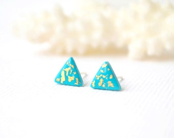 Turquoise triangle Stud earrings turquoise studs turquoise gold earrings gold dipped studs turquoise posts geometric earrings polymer studs