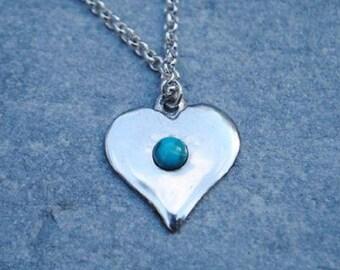 Gemstone Heart Pewter Pendant