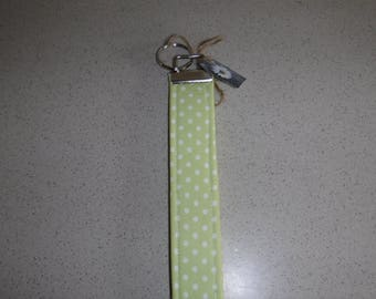 Lime Green with White Polk-A-Dots Key Fob, Key Chain, Key Lanyard