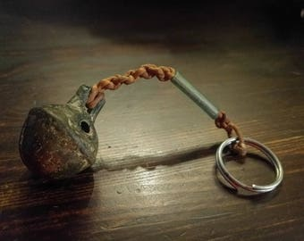 Antique Crotal Bell and green glass keychain
