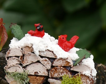 Miniature Woodpile with Cardinals, Fairy Garden Accessory, Miniature Winter Garden