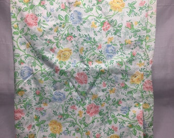Vintage double or full flat Floral sheet with pink, yellow, and blue flowers. Retro sheet, floral bedding, roses, JcPenney