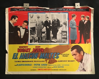 Original 1960 The Maltese Falcon Mexican Lobby Card Movie Poster, Humphrey Bogart, Mary Astor