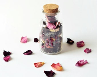 Glass bottle with rose petals and lavender buds natural dried flowers home decor rose petals jar