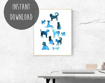 Blue Wall Art, Collage Print, Printable Home Decor, I Love Dogs, Dog Lover Gift, Pet Dog, Shiba Inu, Chihuaha, Labrador, Greyhound Poster