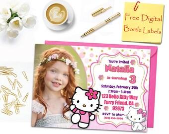 Hello kitty birthday etsy hello kitty hello kitty birthday invitation hello kitty photo invitation hello kitty bottle filmwisefo