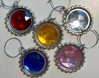 Gemstone Jewels Flattened Bottle Cap Wine Charms, Wine Accessories, Party Favors, Bunco Prize, Stocking Stuffers - Set of 5