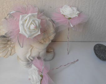 Wand bouquet bridesmaid bouquet - Pink Silver and white