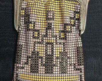 STERLING Silver Enamel Mesh PURSE Art DECO Excellent Condition Antique 1920s  Mandalian and Whiting & Davis