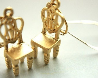 Gold Chair drop earrings, miniature chair dangle earrings, novelty jewelry, metallic chairs,14kt gold filled dangle