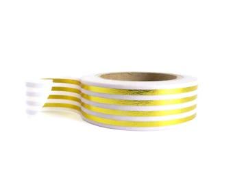 Washi Tape Gold Metallic Foil Stripe 10 Metres