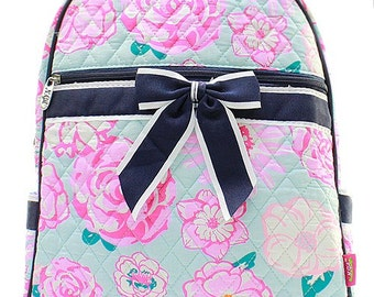 Flower Print Quilted Monogrammed Backpack Navy Blue Trim