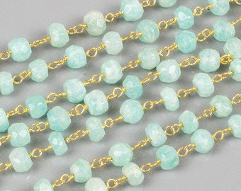 Aqua Jade Rosary Chain, Gold Plated Wire Wrapped Rosary Chain, Aqua Jade Gold Rosary Chain, 4 mm, Sold By Foot (JAD-0193)