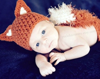 Newborn PHOTO Prop - FOX Hat and Diaper Cover- Baby - Boy - Girl - MADE to Order-  Rust