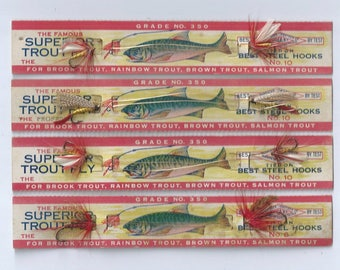 The Famous Superior Trout Fly Fishing Flies, 4 seperate cards 2 flies per card ca. 1950s
