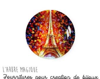 2 cabochons glue Paris glass 16 mm - N718