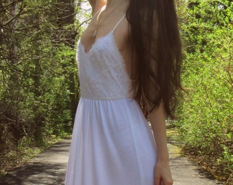 romance in the air - white organic cotton bamboo paired with vintage 1970's floral lace boho hippie wedding maxi dress xs small