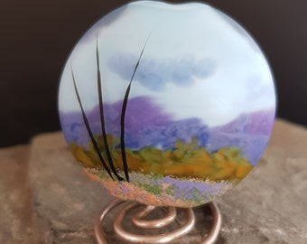 Handmade lampwork glass focal bead - Heather at the foot of the Mountain