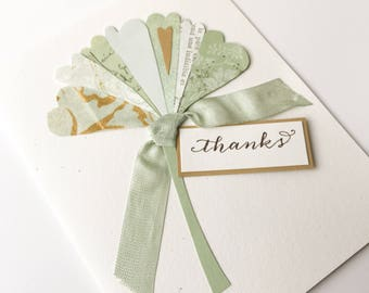 Thank You Card - ginkgo leaf, handmade card, original design - select your interior message