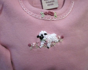 Bodysuit and Pants Set, 0-3mos. / Infant Girl's,  Hand Embroidered,/ Long-Sleeved, Pink, Newborn / Lamb and Flowers