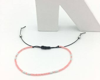 Bracelet MINI coral white and silver No. 3