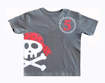 Pirate Birthday Shirt, pirate party, pirate birthday, pirate invite, Boys Tee Skull and Crossbones, Pirate shirt