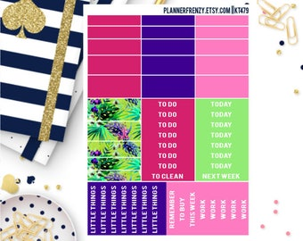 """Tropical Summer Collection """"Washi"""" and Section Header Planner Stickers! KT479"""
