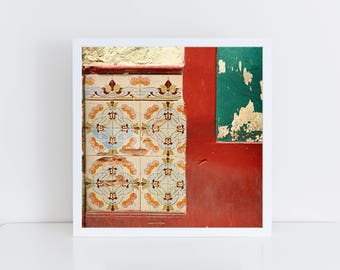 "Cuba art print - Square print - ""Layers of beauty"" - Havana photography - Cuba photography - Habana - Architecture - Tiles - Red and green"